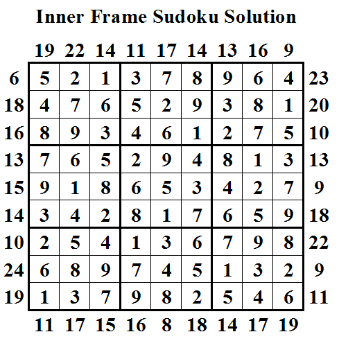Inner Frame Sudoku Solution (Daily Sudoku League #17)