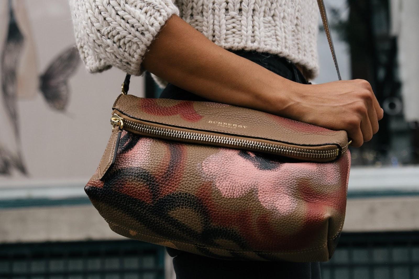 crossbody burberry handbag professional photo street style