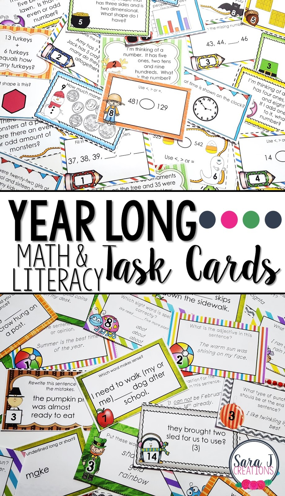 Math and literacy task card bundles for the whole year includes holidays and seasons celebrated during the school year.