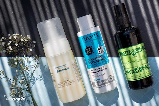 Cremekampagne Waschgel, Sante Erfrischendes Gesichtswasser, Maienfelser Hydrolat Weihrauchwasser