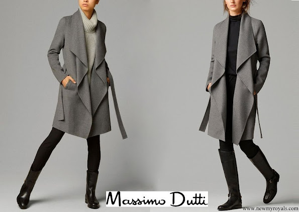 Crown-Princess Mary wore MASSIMO DUTTI cashmere and wool blend coat