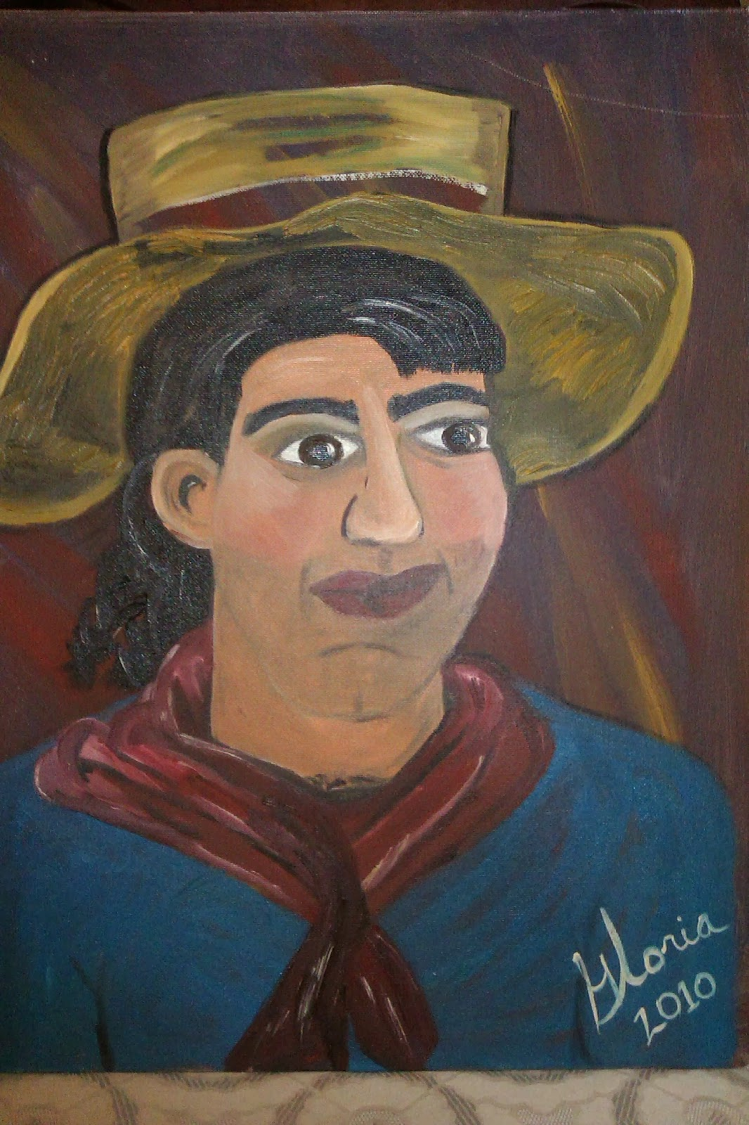 """Brazilian Man"" ethnic series oil painting by Gloria Poole of Missouri; yr 2010"