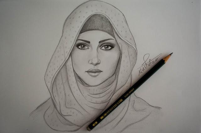 تعلم رسم فتاة محجبة بالرصاص
