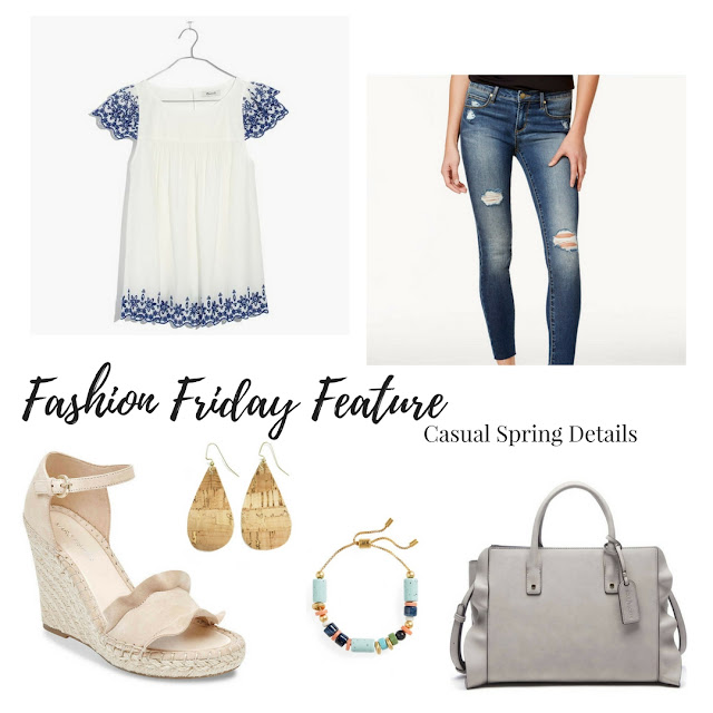 This casual spring outfit features pretty details such as embroidery, ruffles, and gold accents | www.livingyoungandhealthy.com