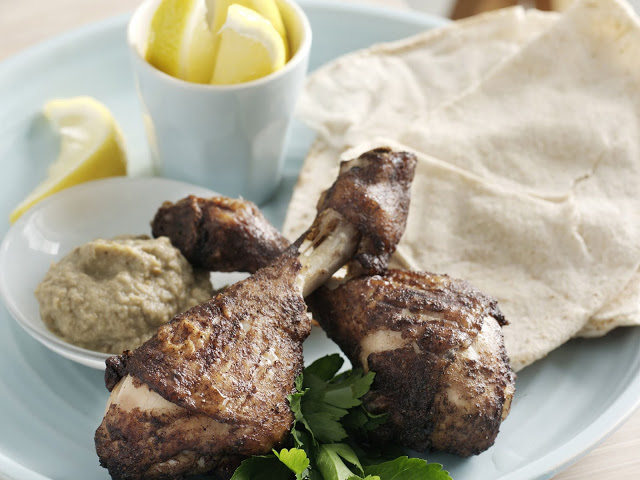 spiced drumsticks with baba ghanoush in a serving dish Lebanese-spiced drumsticks with baba ghanoush recipe