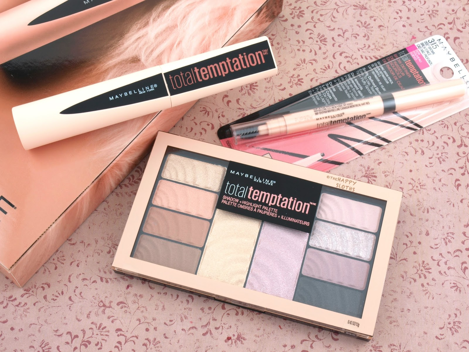 Maybelline Total Temptation Collection | Mascara, Shadow + Highlight Palette, Brow Definer: Review and Swatches