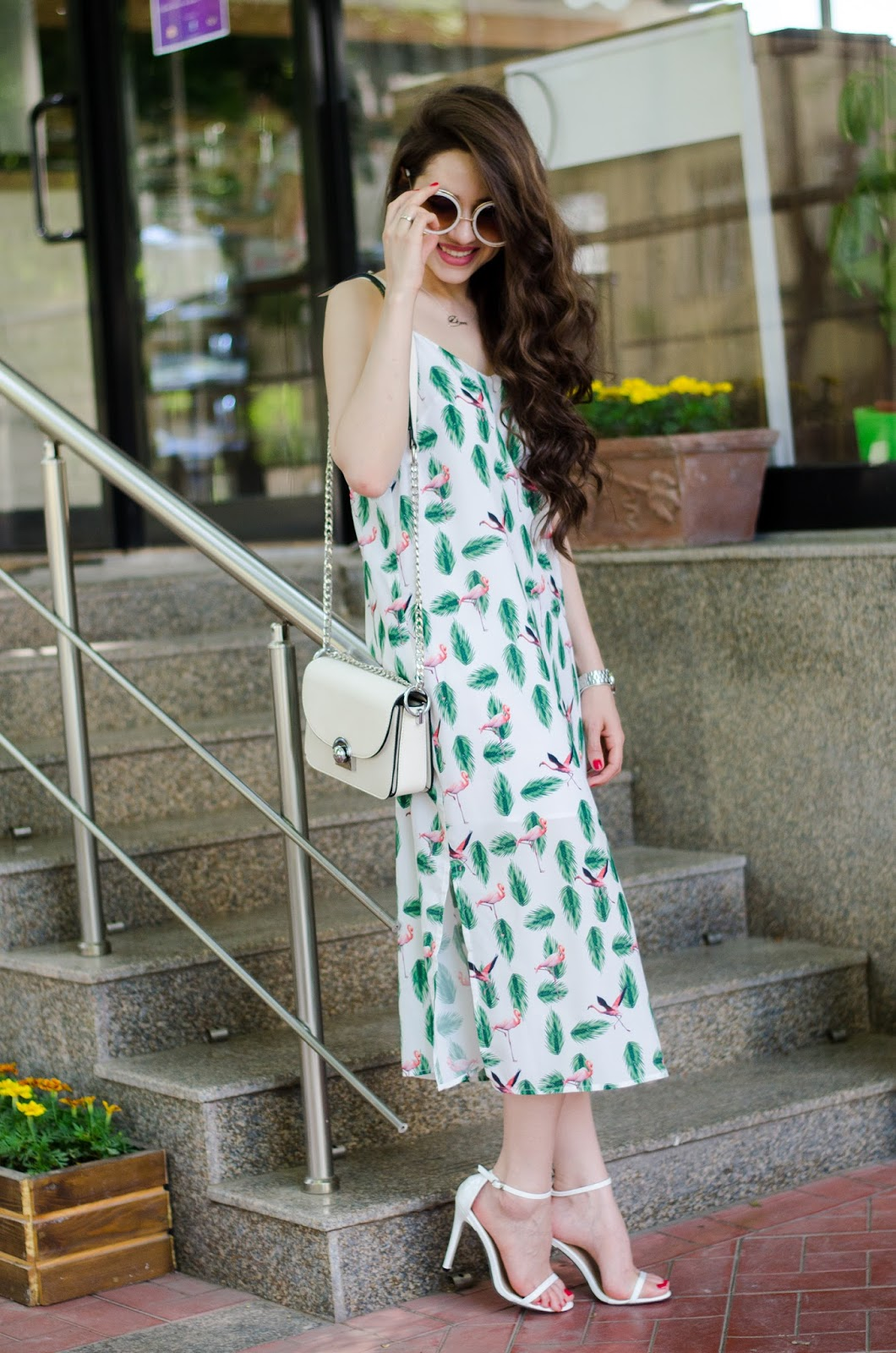 fashion blogger diyorasnotes diyora beta midi came dress white heels white bag streetstyle2017 spring outfit