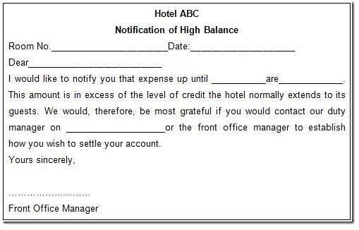Template For Hotel Room Charges