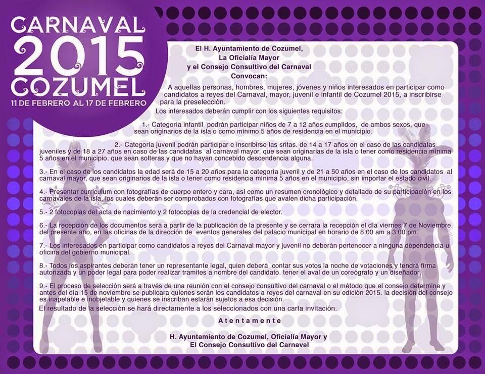convocatoria Carnaval Cozumel 2015