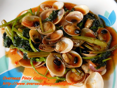 Halaan and kangkong with Chili and Blackbean Sauce