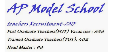 1038 AP Model School Teachers Recruitment PGT TGT HM vacancies, 636 Post Graduate Teachers(PGT) posts,  402 Trained Graduate Teacher(TGT) posts and 96 Headmaster posts are available