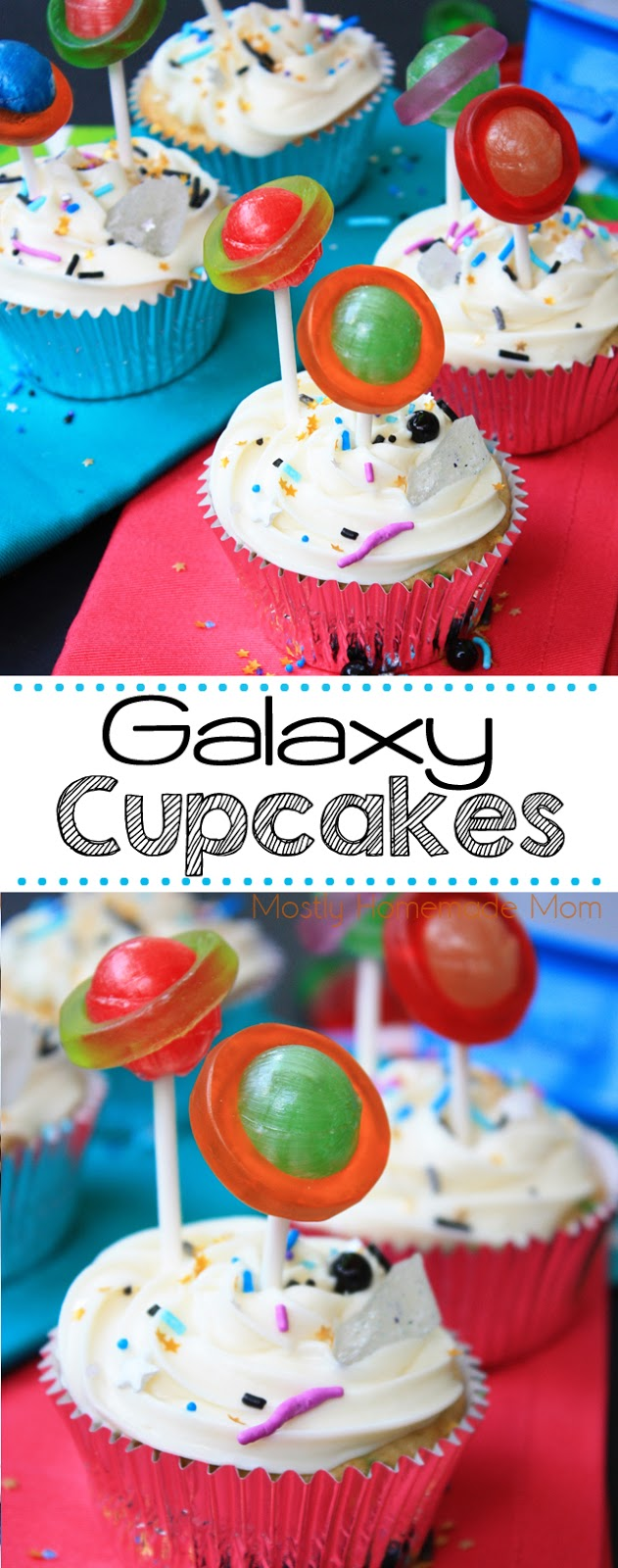 Galaxy planet cupcakes with lollipops
