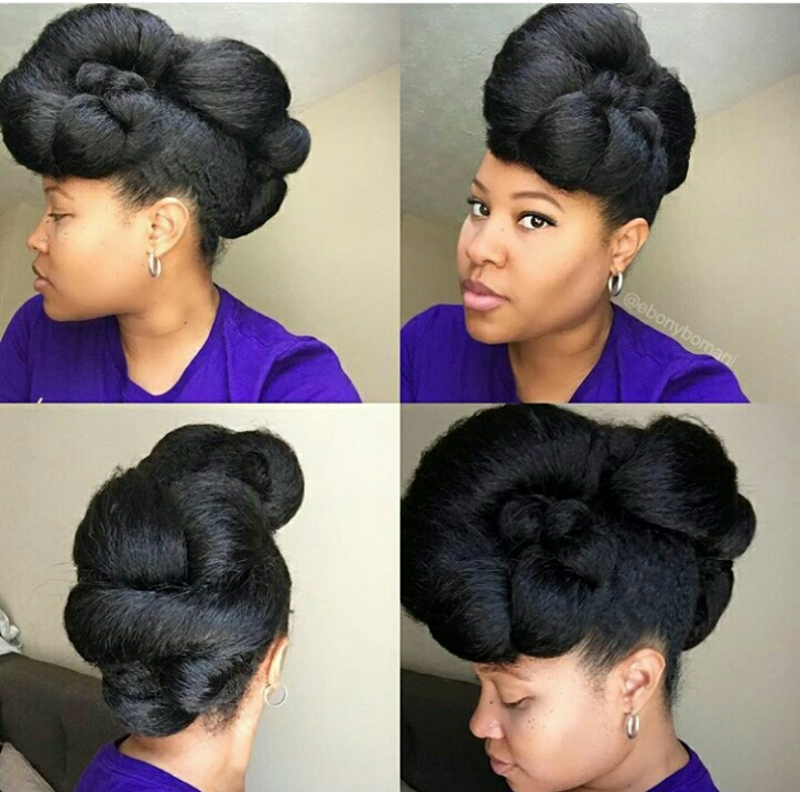 Natural Hair updo on an African American woman