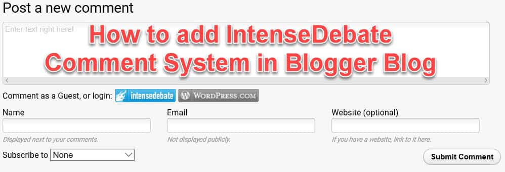 How to add IntenseDebate in blog