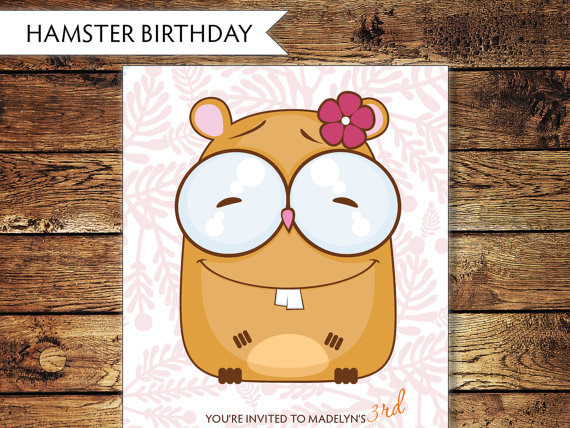 Children's Hamster Birthday Invitation