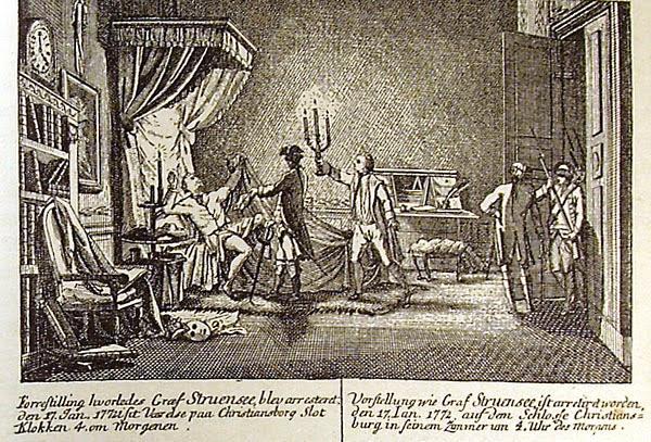 Woodcut depicting the arrest of Johann Friedrich Struensee