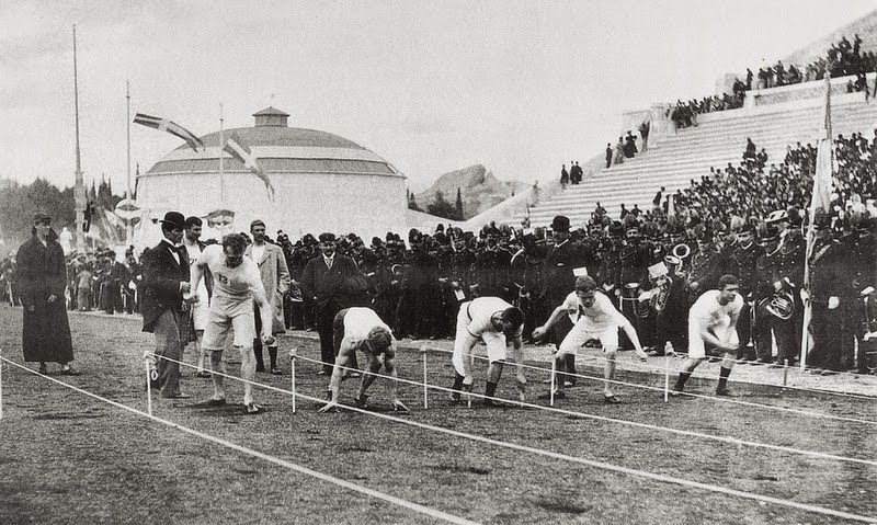 The first-ever photograph of an Olympic event: The 100m sprint event of the 1896 Athens Olympics. - Panathenaic Stadium. The Birthplace of Modern Olympics