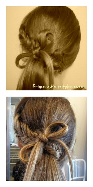 Fish bone braid bow ponytail hairstyle tutorial