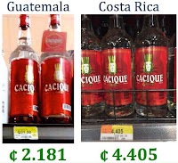 comparativa de precios de botellas de guaro cacique guatemala y costa rica
