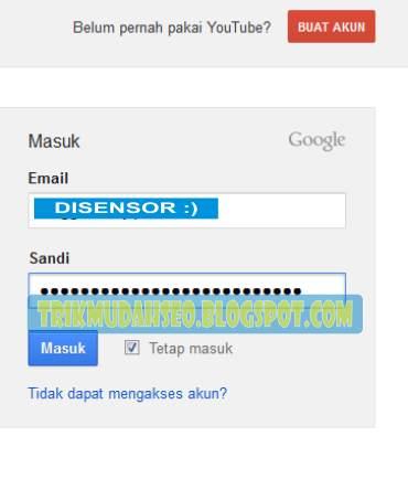 Form Login masuk ke akun Google