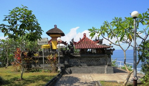 Situated on altitude of a cliff on the beachfront border BaliBeaches: Rambut Siwi Temple Bali - Exotic Panorama And Vast Rice Fields