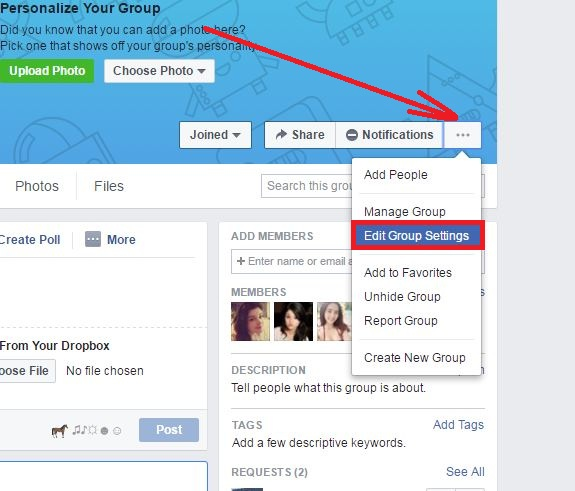 How To Change The Privacy For A Group step 2