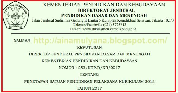 KEPUTUSAN DIRJEN DIKDASMEN NOMOR: 253/KEP.D/KR/2017 TENTANG DAFTAR SEKOLAH PELAKSANA KURIKULUM 2013 TAHUN 2017