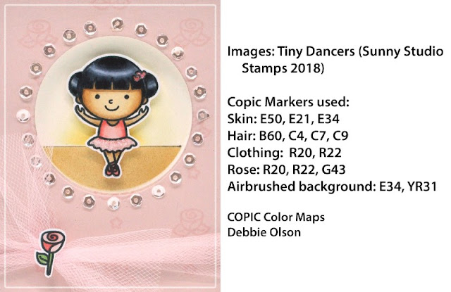 Sunny Studio Stamps: Tiny Dancers Ballerina Card with Copic Coloring by Debbie Olson