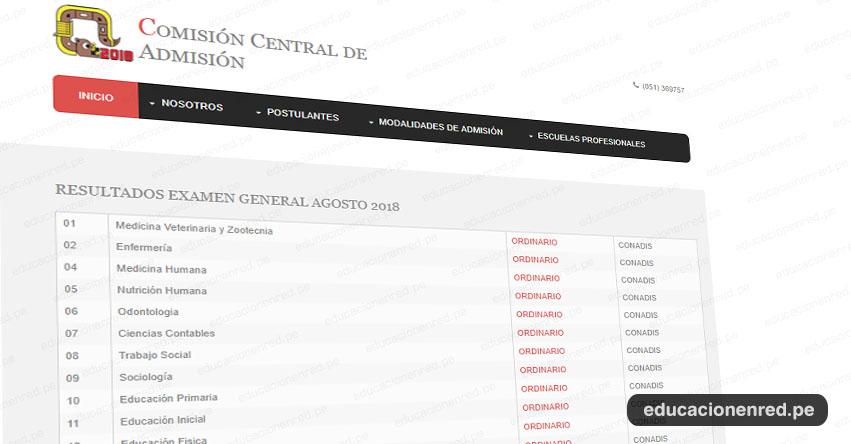 UNA Puno publicó lista de ingresantes Examen de Admisión General - Universidad Nacional del Altiplano - CCA UNAP - www.unap.edu.pe