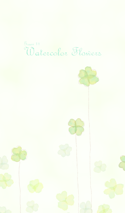Watercolor Flowers[Clover]/Green 11