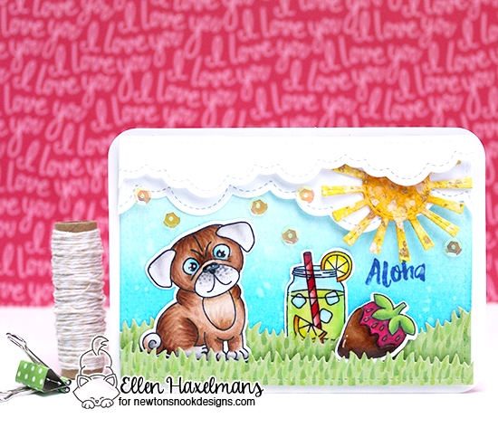Pug Picnic Card by Ellen Haxelmans | Pug Hugs, Freshly Squeezed and Love & Chocolate Stamp Sets by Newton's Nook Designs #newtonsnook