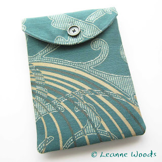 Designer case cover sleeve for kindle, kobo and nook in teal and silver kingfisher fabric