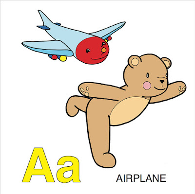 yoga teddy bear, A B C book, yoga, airplane pose, Warrior 3 pose, Virabhadrasana, learning, children education, yoga education