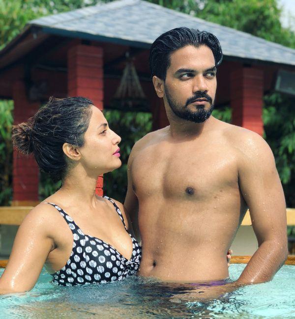 Hina Khan in bikini with boyfriend Rocky Jaiswal