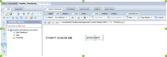 Conversion of Timestamp into Date Format in Web Intelligence