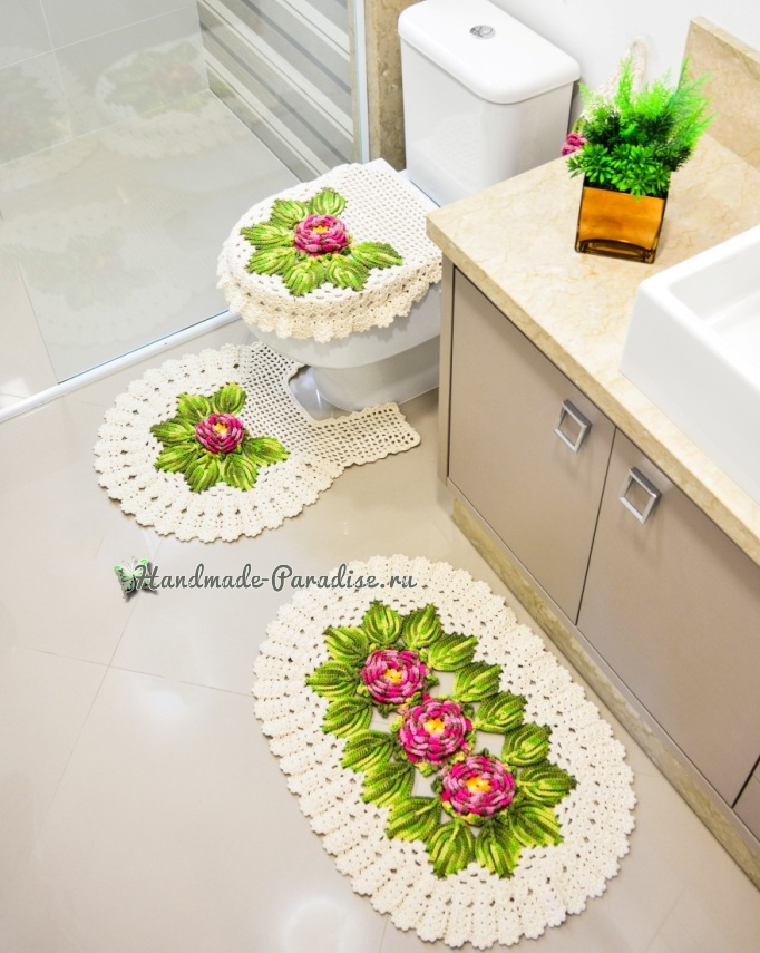 Вязание крючком. Комплект для ванной (1)