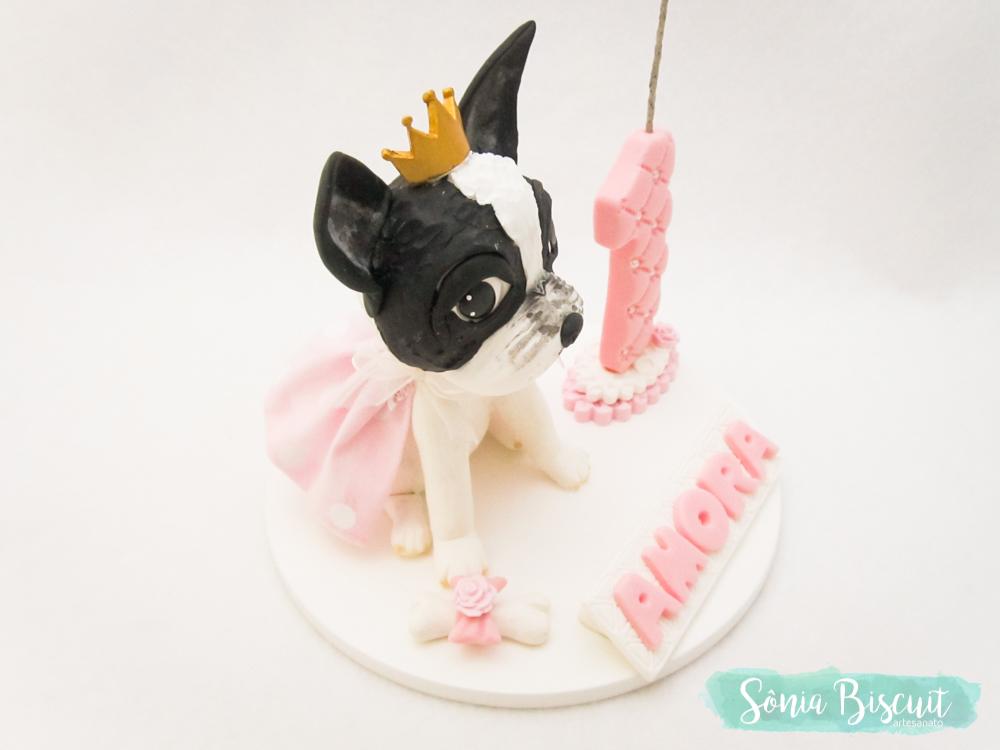 Topo de Bolo, Cachorro, Cachorrinho, Bulldog, Biscuit, Sonia Biscuit