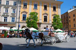 Horse Carriage Rynek Glowny Main Old Town Square Krakow Poland