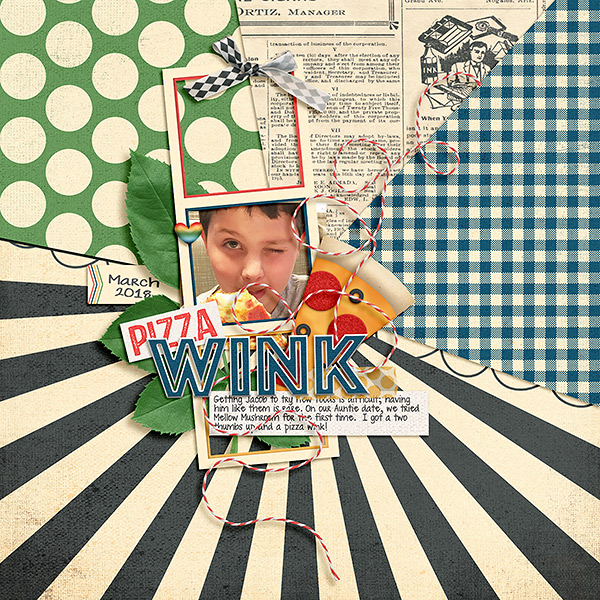 Digital Scrapbook Pizza Wink Page