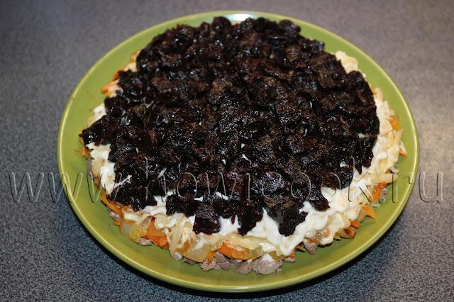 рецепт салата с куриной печенью и черносливом с пошаговыми фото