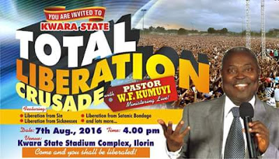 The General Superintendent  of Deeper Christian Life Ministry, Pastor W.F. Kumuyi comes with the power of God to Ilorin National  Stadium. Come and be bless. The program will be glamorous and glorious.