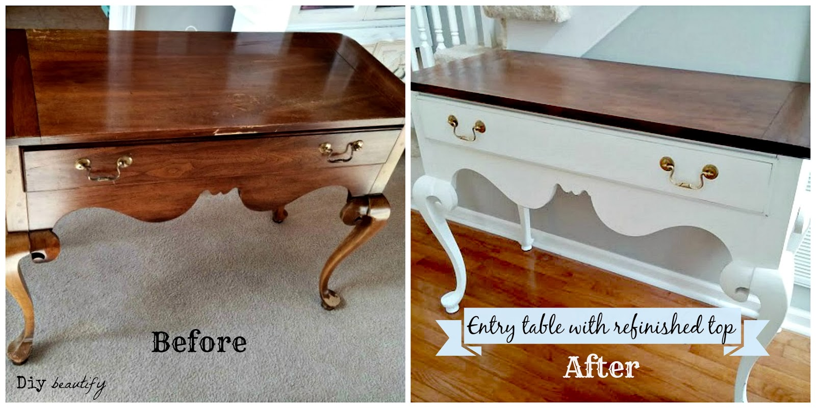 How to Refinish a Table top www.diybeautify.com