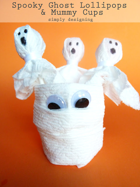 Spooky Ghost Lollipops and Mummy Cups | simple Halloween kid crafts | #kidcrafts #halloween #cottonelletarget #pmedia #ad