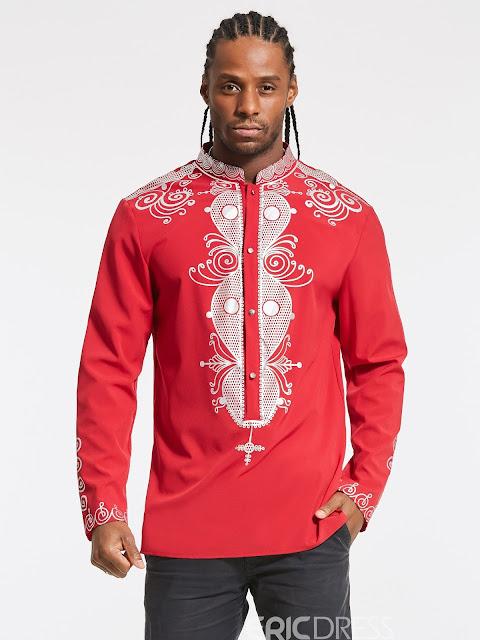 Ericdress Ethnic Style Single-Breasted Dashiki Slim Men's Shirt