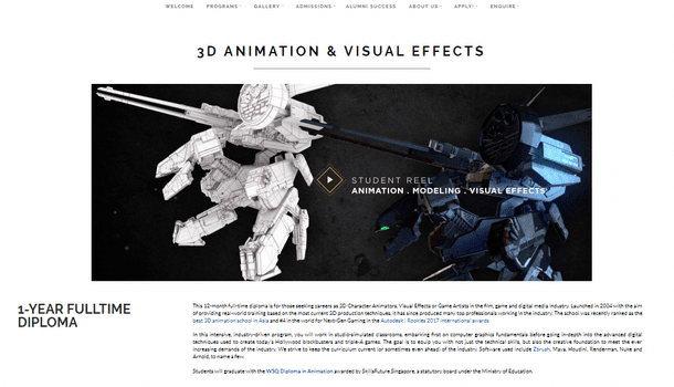 Animation School - 3D ANIMATION AND VISUAL EFFECTS - 1-YEAR FULLTIME DIPLOMA