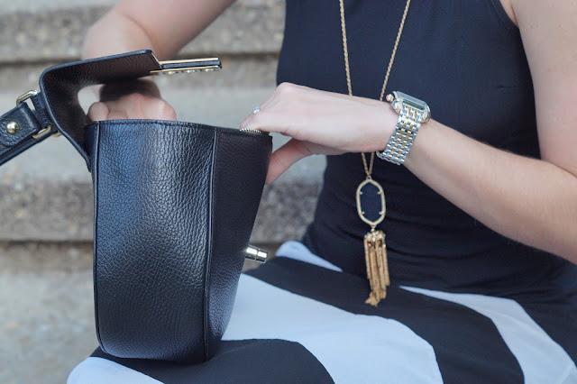 chicago fashion blogger black & white striped maxi dress
