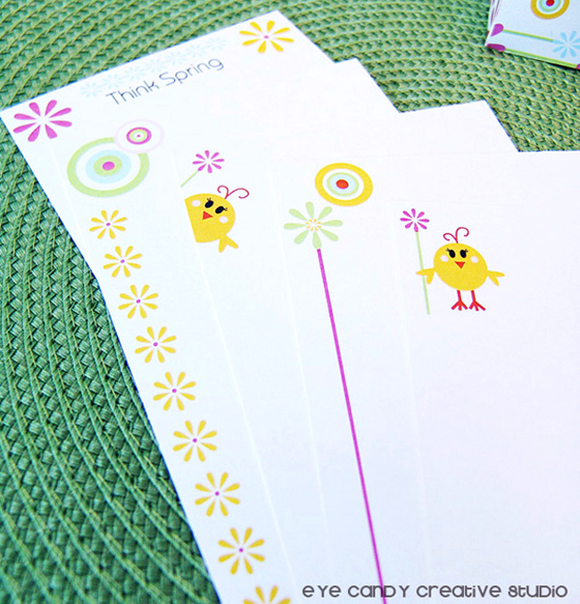 daisies, chicks, stationery set, stationery paper pack, stationery gift
