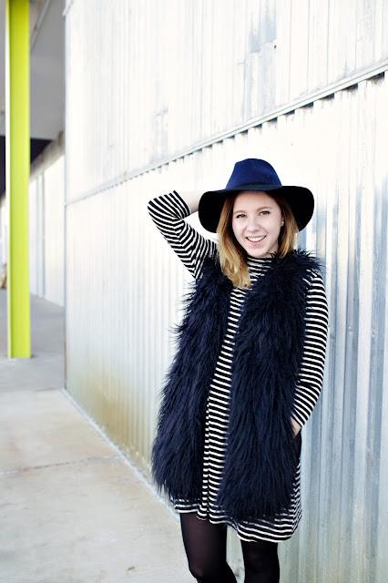 striped dress, knit dress, color block hat, fur vest, furry black vest, aluminum background, Alison Su Photography, lime green, black and white dress, monochromatic,