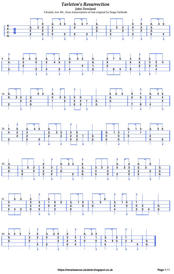 Music tablature low-G ukulele Dowland's Tarleton's Resurrection