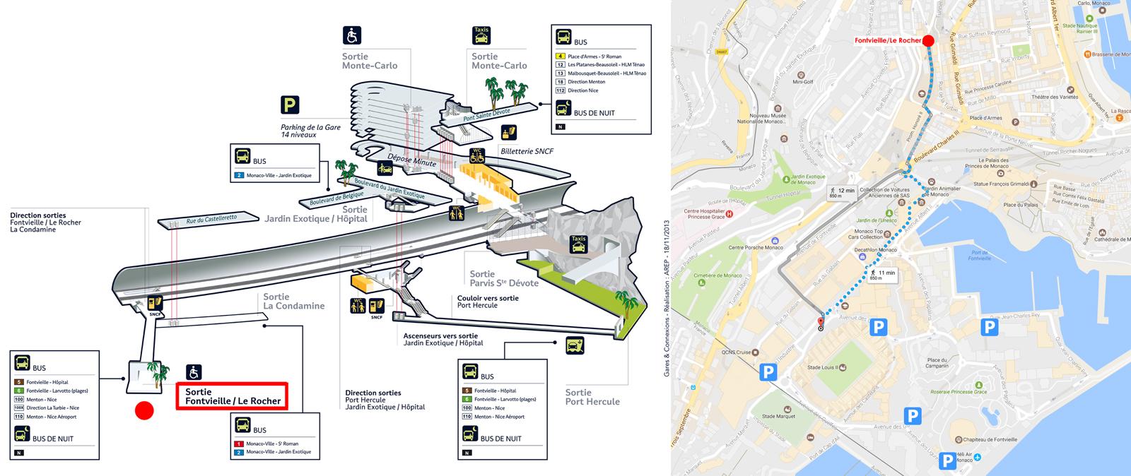 mappa informazioni stadio louis II monaco accesso treno